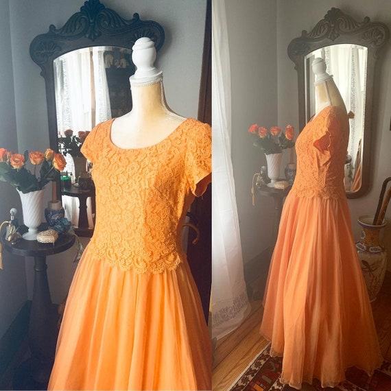 50s Orange Formal Dress, 50s Orange Chiffon Formal