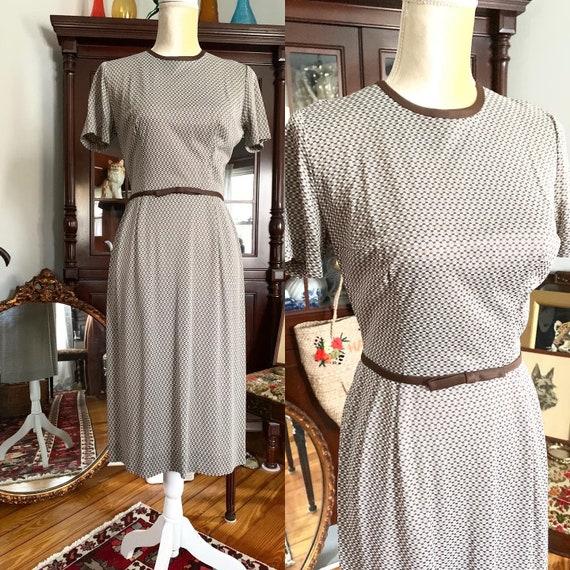 50s Brown Wiggle Dress, 60s Pencil Dress, Vintage