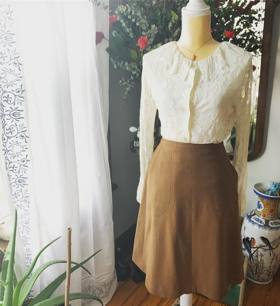 60s Tan Wrap Skirt, 60s Gurian Skirt, Vintage Tan