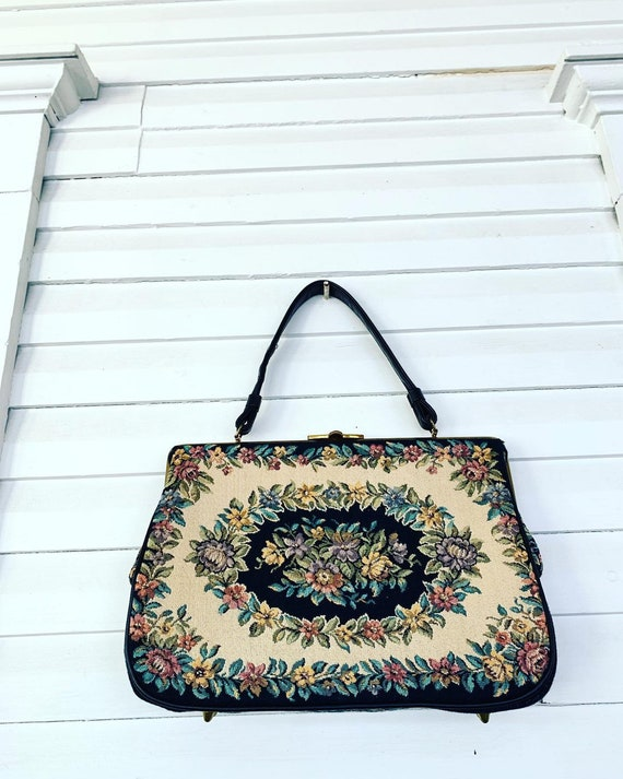50s Tapestry Bag, 60s Tapestry Purse, 50s Floral T