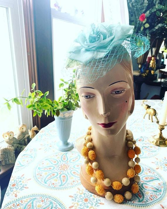 50s Blue Rose Fascinator, 50s Rose Mini Hat, 50s … - image 9