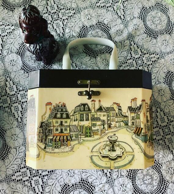 Vintage Box Purse, Vintage Wooden Purse, 50s Novel