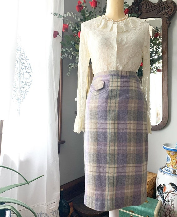 50s Plaid Wool Skirt, 50s Purple Plaid Skirt, Vint