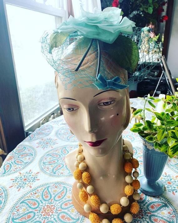 50s Blue Rose Fascinator, 50s Rose Mini Hat, 50s … - image 4