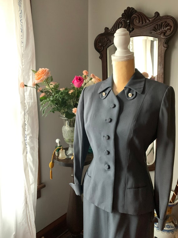 40/'s Elegant Navy Blue Rothmoor Suit JacketTailored wRhinestone Buttons Faux Pockets Padded Shoulders /& Fabric Buttons....Deadstock