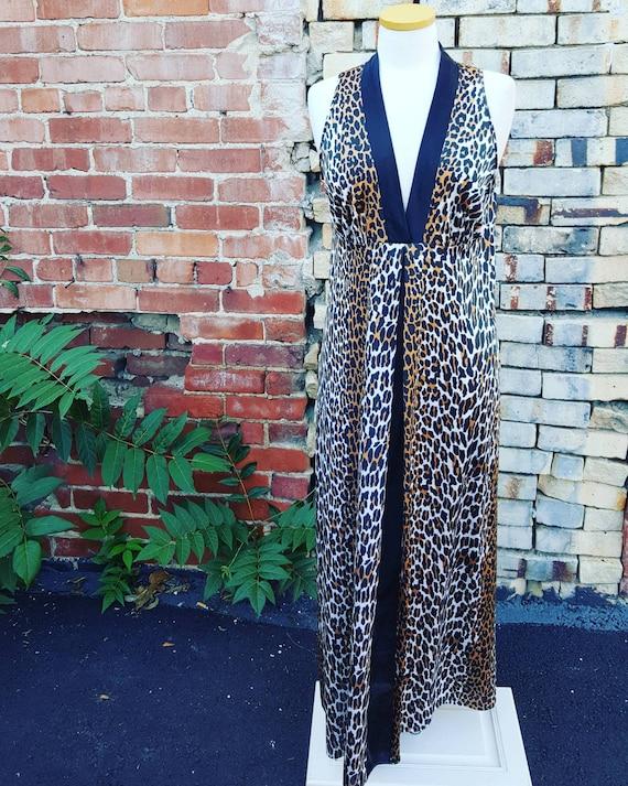 70s Vintage Leopard Print Vanity Fair Nightgown, 1