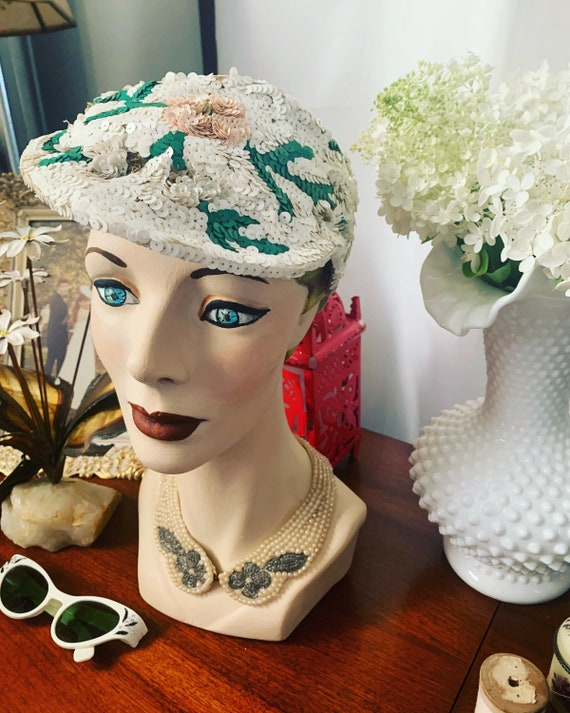50s Sequined Visor Hat, 50s Sequined Pink Flower … - image 2