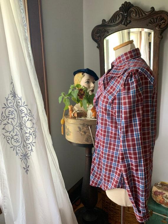 Plaid Prairie Blouse, Vintage Plaid Prairie Shirt… - image 4