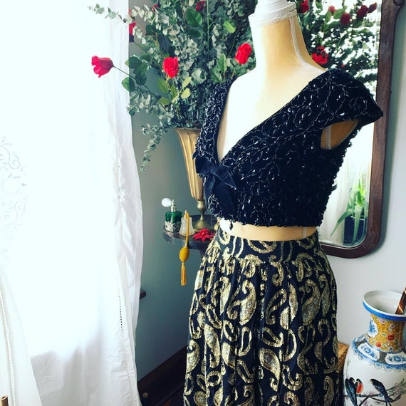 Vintage Metallic Skirt, Vintage Long High Waist S… - image 4