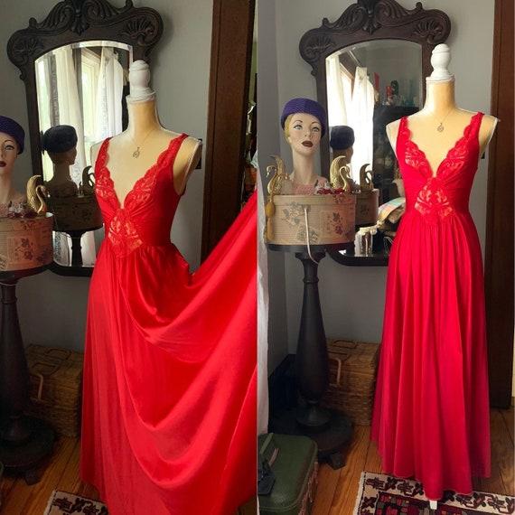 Vintage Red Olga Nightgown Full Sweep, Vintage 80s