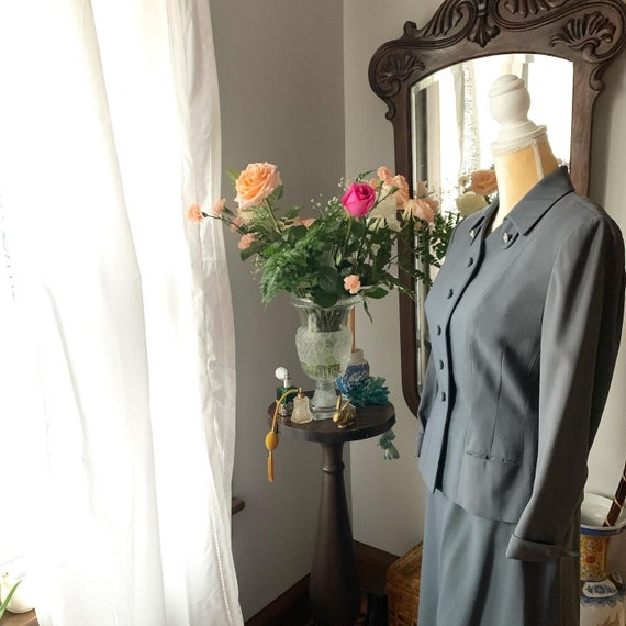 40s Grey Suit, Rothmoor Dress Suit, Vintage Slate… - image 8