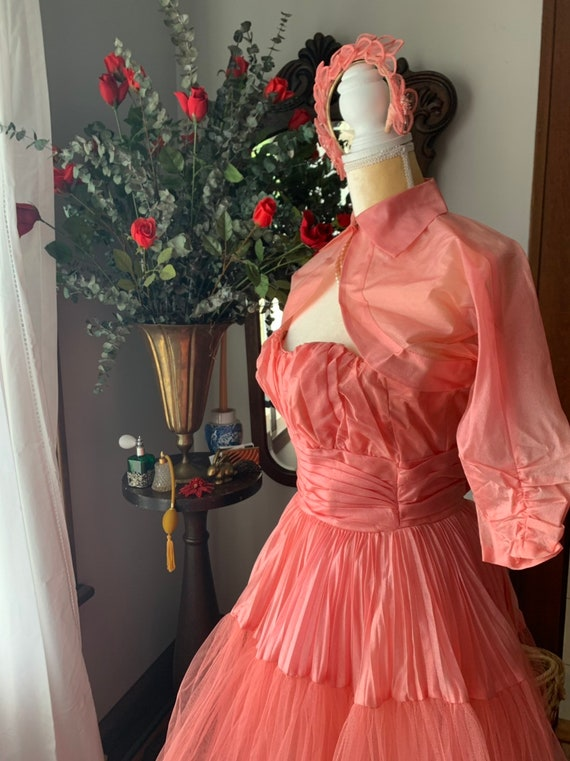 50s Rose Pink Tulle Dress, 50s Pink Tulle Dress, … - image 5