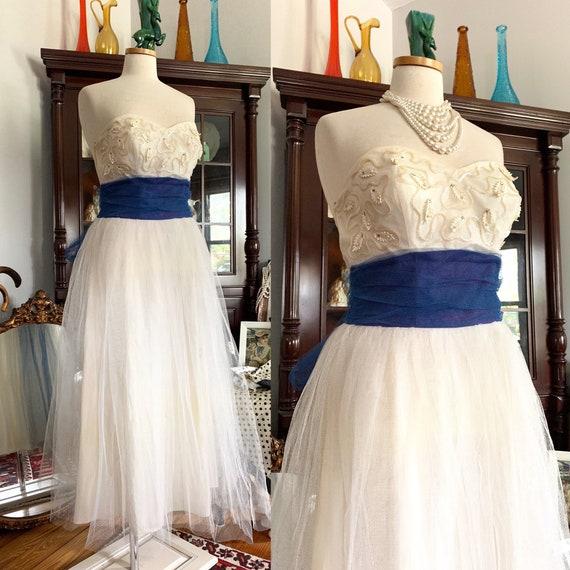 50s White Tulle Dress, 50s White Tulle Blue Sash D
