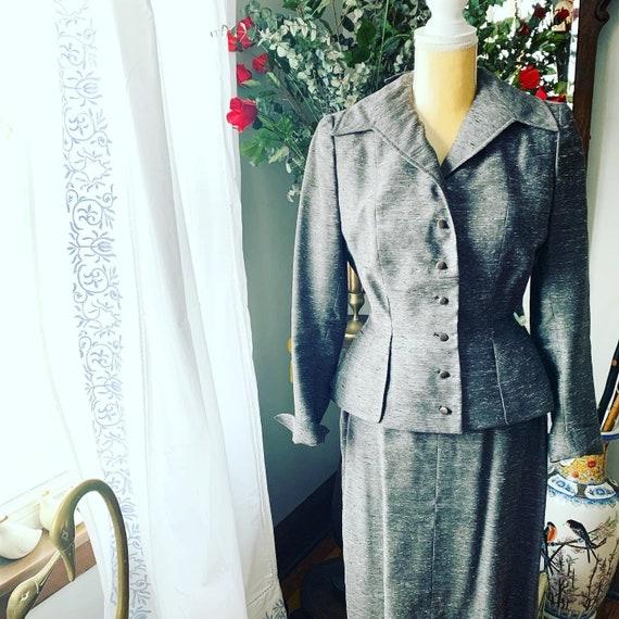 40s Grey Dress Suit, 40s Leslie Fay Pencil Suit, … - image 5