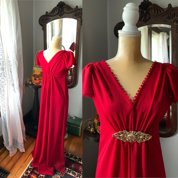70s Red Maxi Dress, Autumnal Red Formal Dress, Vin