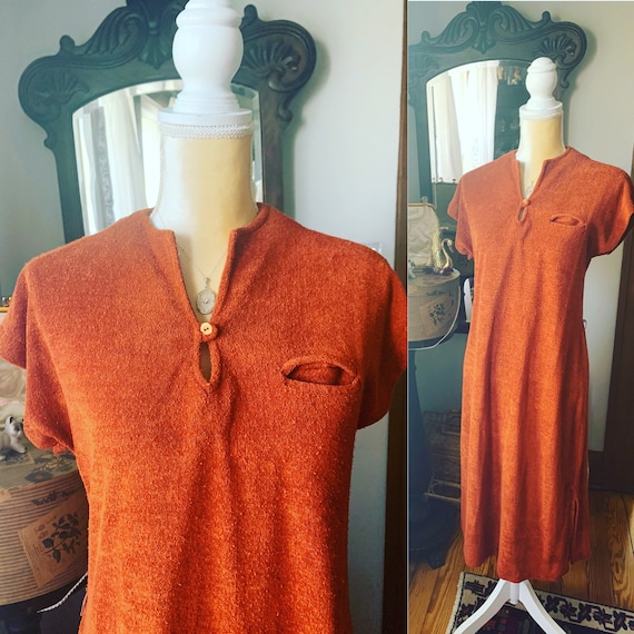 Vintage Burnt Orange Terry Cloth Nightgown, 70s Or