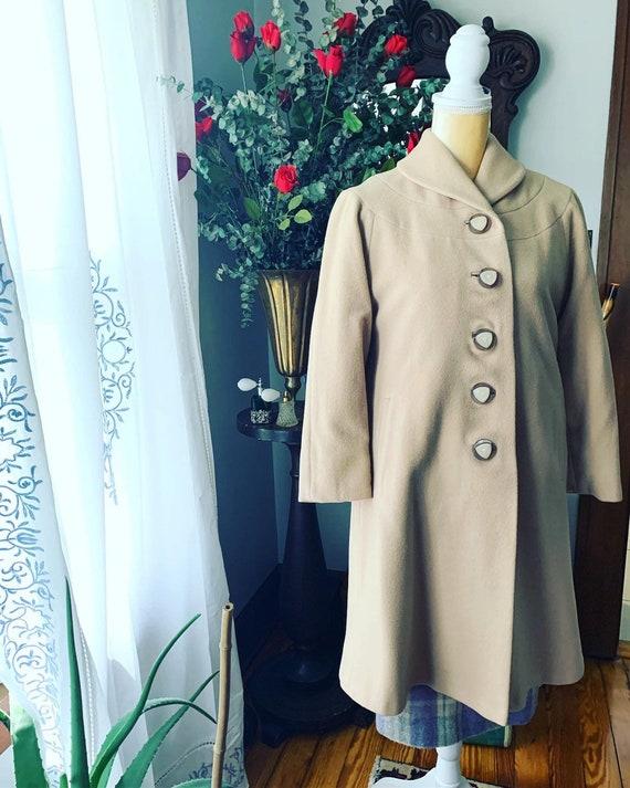 40s Tan Cashmere Coat, 40s Beige Coat, Bakelite Bu