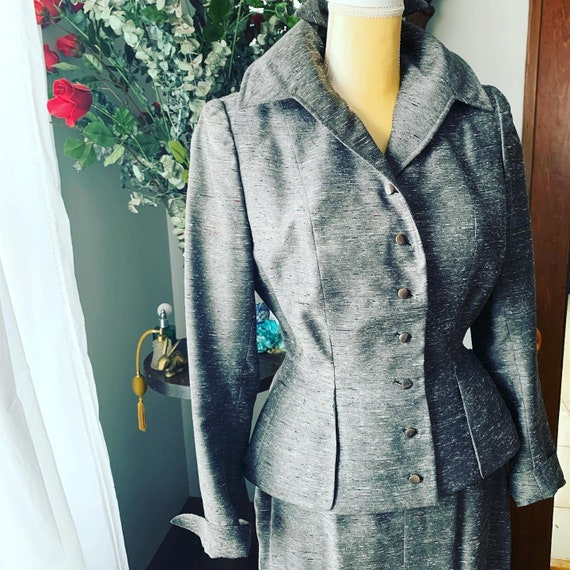 40s Grey Dress Suit, 40s Leslie Fay Pencil Suit, … - image 7