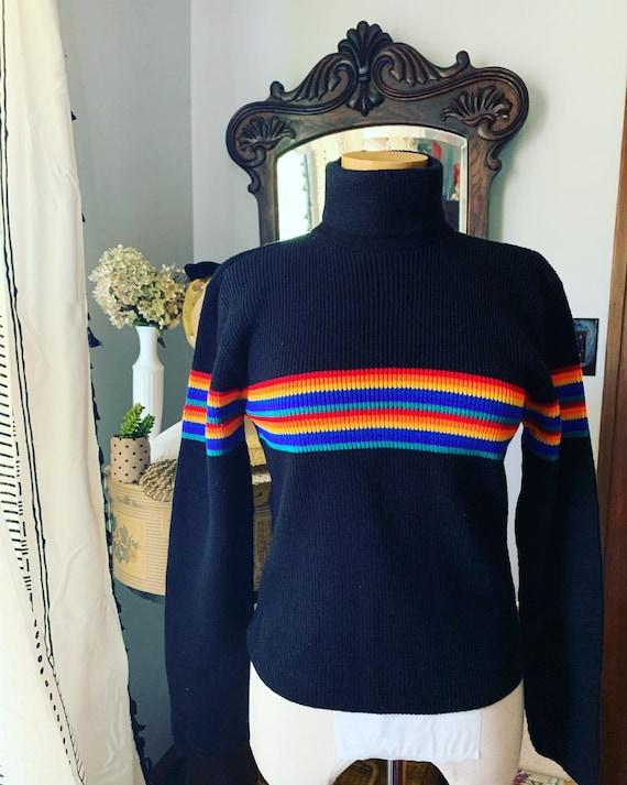 Vintage Striped Turtleneck, Black Rainbow Striped