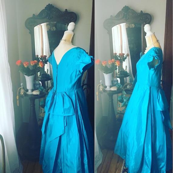 50s Blue Dress, Teal Blue 50s Dress, Size Large 50