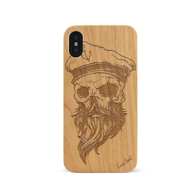 online store 6deff 0ee8f iPhone X Case Sailor Skull wood case iPhone X engraved iPhone X wood case  iPhone wood case iPhone Ten custom case iPhone X protective case