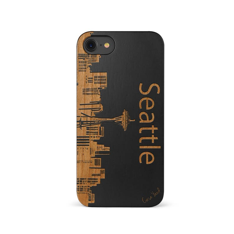 iPhone Wood Case 11 Pro Max Xsmax Xs Xr X 10 8 Plus Wood Case, Samsung S10 S 10 Plus Edge S9 S8 Protective Cover, Seattle Skyline