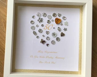 Personalised Heart 30th Pearl Wedding Anniversary Frame Etsy