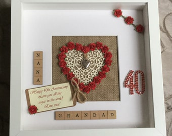 Personalised 40th Ruby Wedding Anniversary gift,Engagement,Marriage, Rustic Scrabble Art frame Picture,Mr & Mrs Mum Dad wall art Keepsake