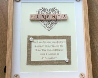 Handmade Wedding Gift Bride Grooms Parents Mum Dad Thank Etsy