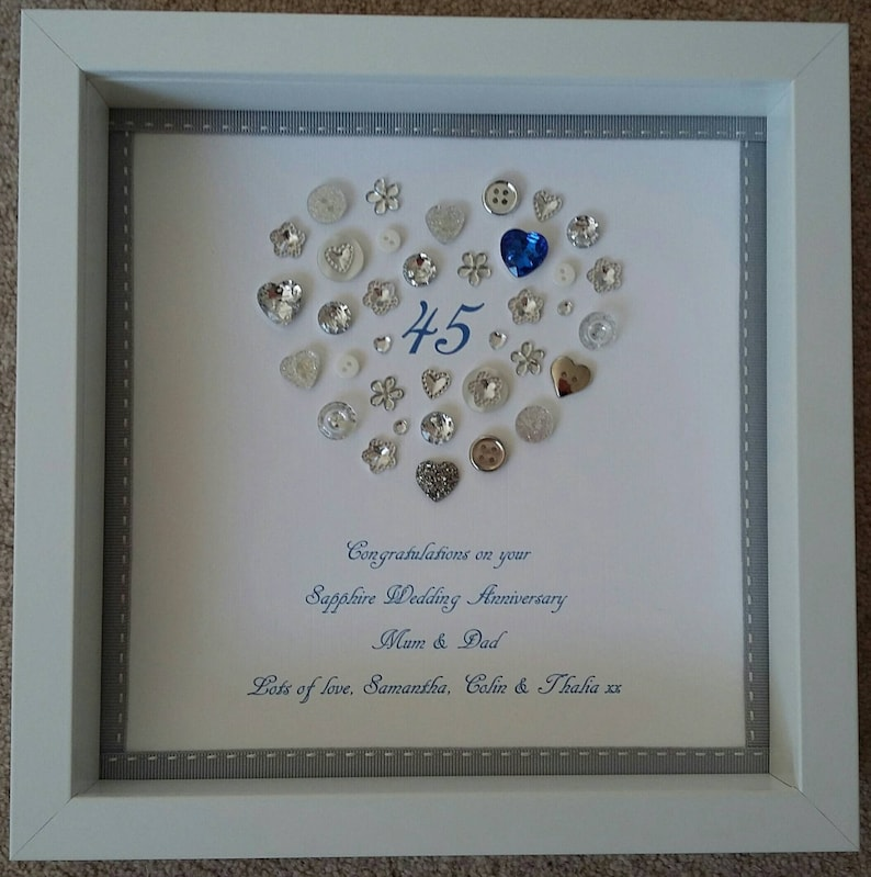 d67162052 Personalised Sapphire Wedding 45th Anniversary framed picture | Etsy