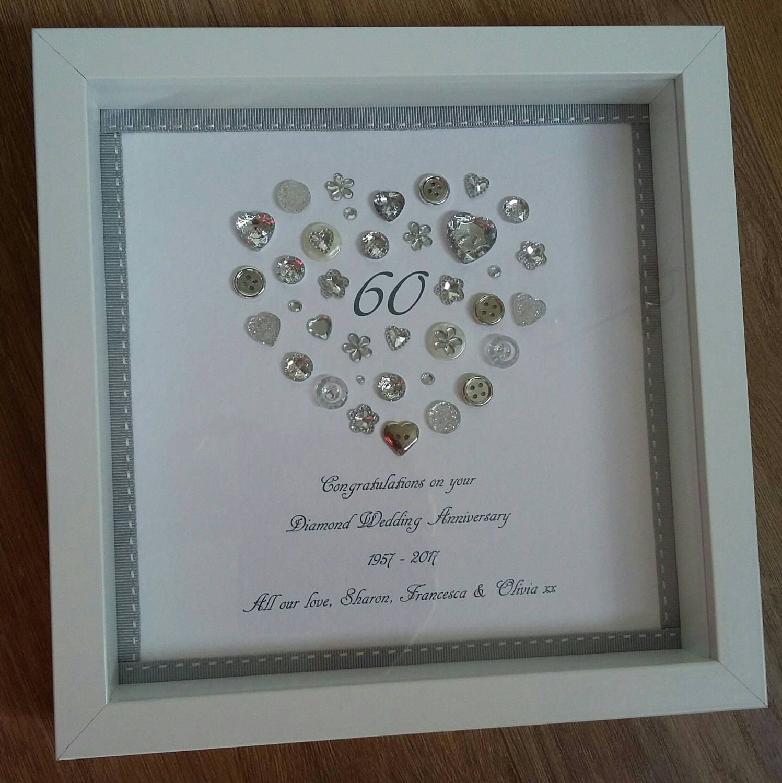 Personalised Heart Diamond 60th Anniversary frame, Keepsake, Box ...