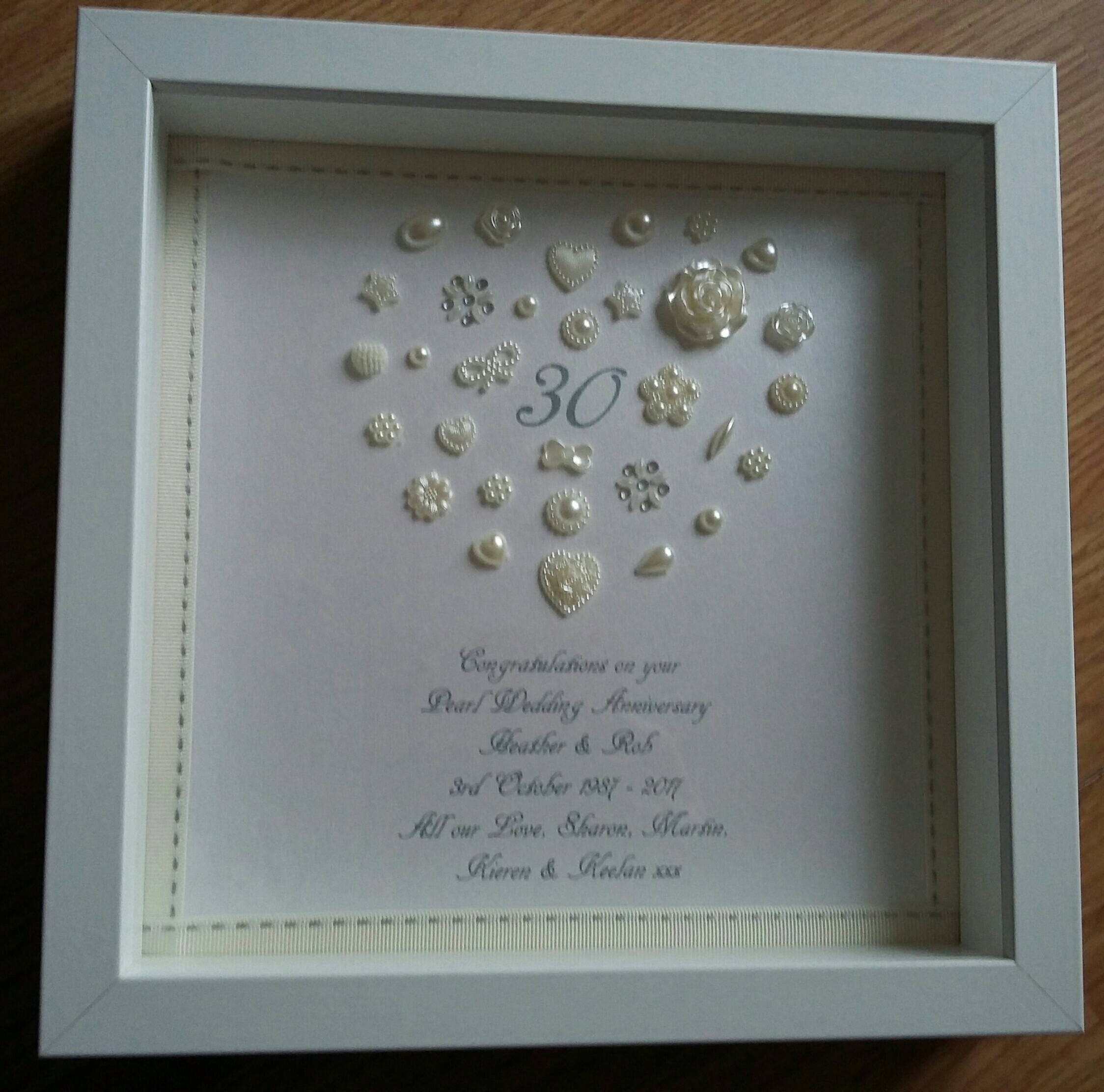 Personalised Heart 30th Pearl Wedding Anniversary frame ...