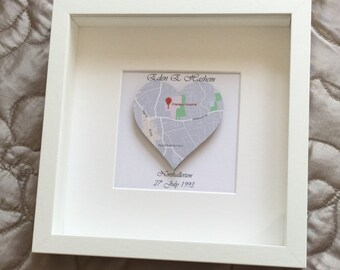 Heart map, New life, baby gift frame Christening,Where I was born Scrabble art frame Personalised Birth location gift, Baby's birth location