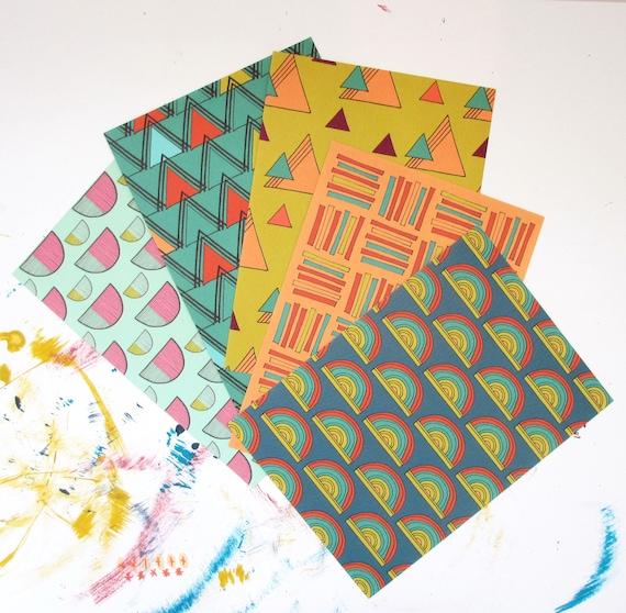 A6 Patterned Postcards/Set of 5/Anna Treliving Postcard