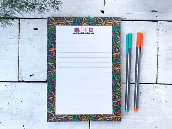A5 Notepad / Things to do list / Flower design