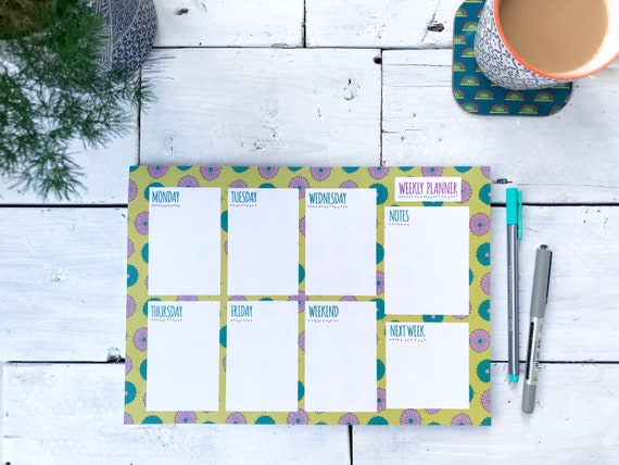 A4 Weekly Planner desk pad / Yellow flower design