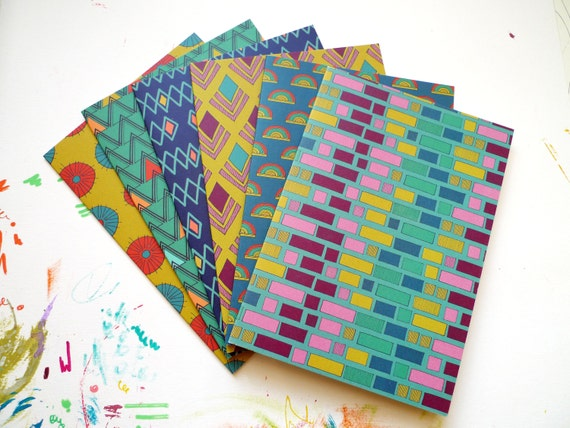 Set of 6 Geometric Patterned Notelets