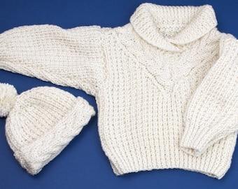 Childs Aran Sweater & Hat Combo