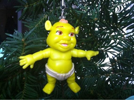Shrek Christmas.Upcycled Toy Baby Shrek Pvc Christmas Tree Ornament Christmas Decorations Pvc Toy Baby Shrek Plastic Figurine