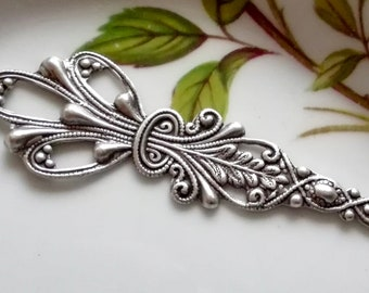 Silver Filigree Round Filigree Vintage Style Openwork Filigree Antique Silver Filigree Jewelry Making 2 Pc Floral Filigree