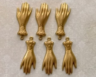 6Pcs Raw Brass Victorian Hands Charms Pendants, Victorian Hand stamping, Hands Embellishment, Victorian brass stampings