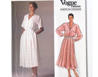 """Vogue Calvin Klein 1525, Sewing Pattern, Loose-Fitting Dress with Pleated Skirt, US Misses Size 16, 38"""" Bust, uncut factory folded"""