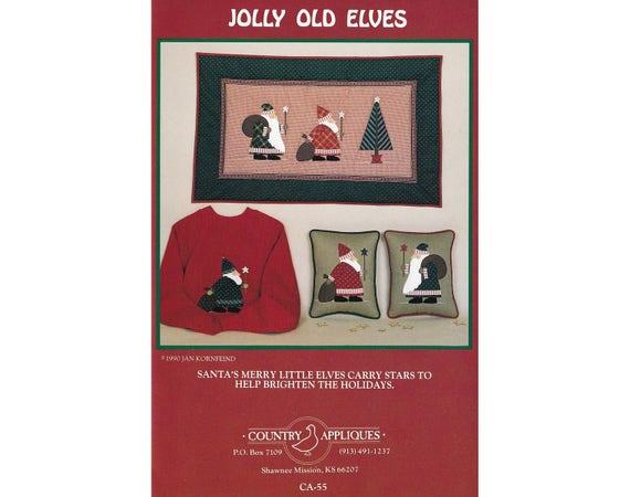 Jolly old elves vintage applique pattern santa applique etsy