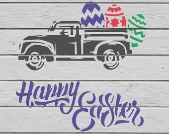 cc77984fd42a2 Easter Truck Custom Stencil: reusable craft stencils for painting, vintage  car holiday template, Eggs Bunny Silhouette, decor Happy Easter