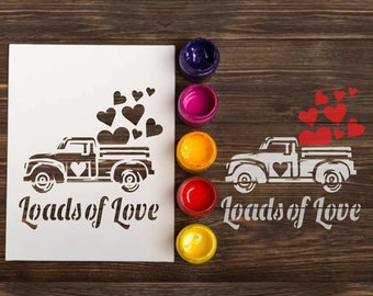 0b5fa69d2585c Valentines Truck Stencil: reusable custom craft stencils for wood sign  making, vintage car holiday template, decor DIY craft, Loads of Love