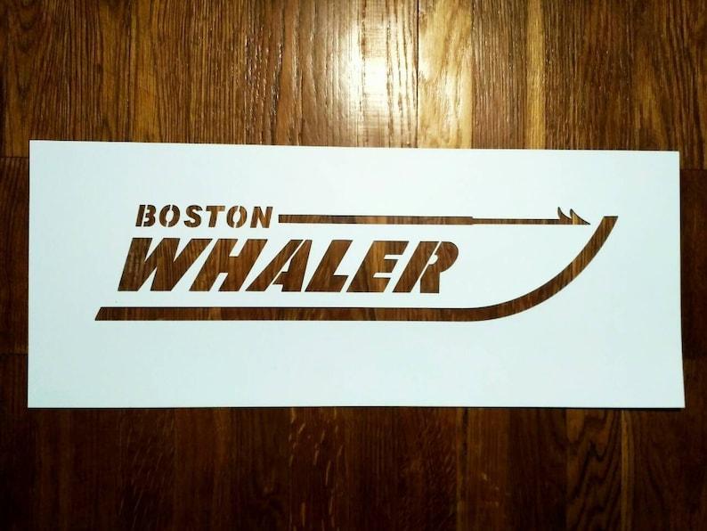 Boston Whaler Stencil: Reusable custom logo stencil for sign, wall art,  boat decor, emblems