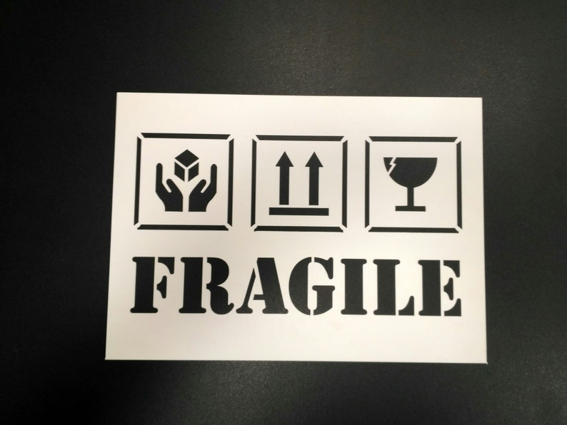 Custom sizes Fragile Stencil  Set of two stencils A4 reusable custom business stencils templates for painting Shipping Packaging Symbols