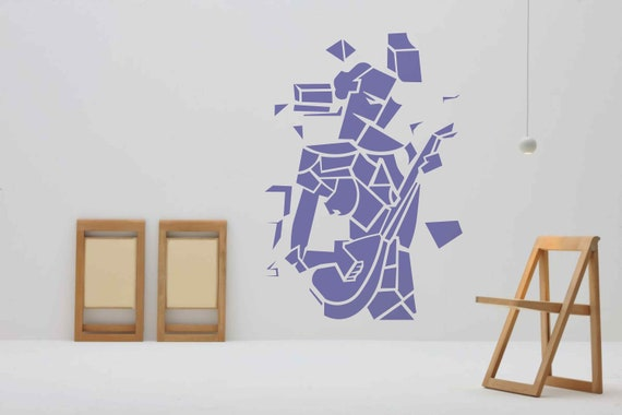 Stencil for art Girl With Mandolin Picasso Cubism reusable custom stencils for DIY Craft small and large wall mylar stencils for painting