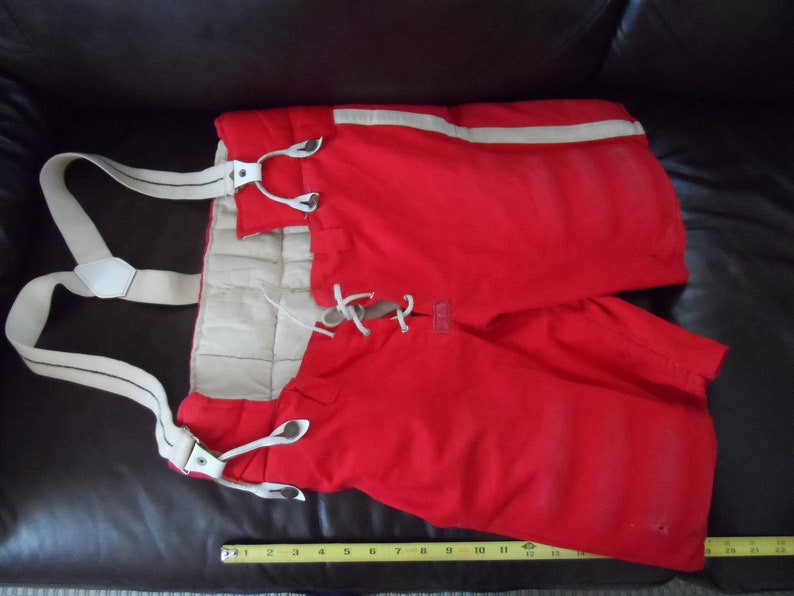 vintage cotton Hockey Pants 1960s by Holden's of Ottawa with suspenders  size 36 mens