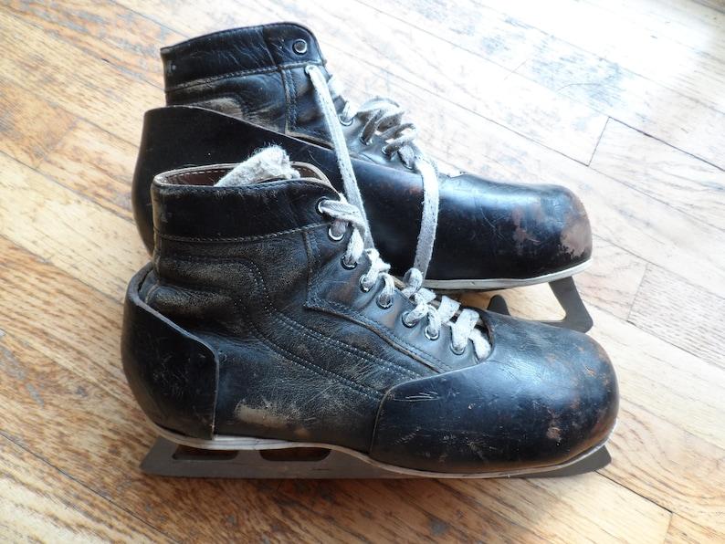 Vintage Ccm Leather Goalie Skates Men S Size 8 5 Good Etsy